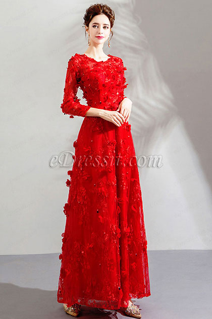 Red Long Sleeves Lace Party Prom Evening Dress