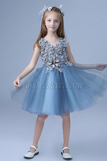 Blue Sleeveless Cute Wedding Flower Girl Party Dress