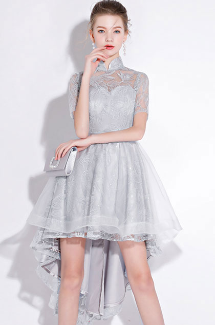 eDressit Grey High Neck Lace Applique Tulle Party Cocktail Dress (35197108)