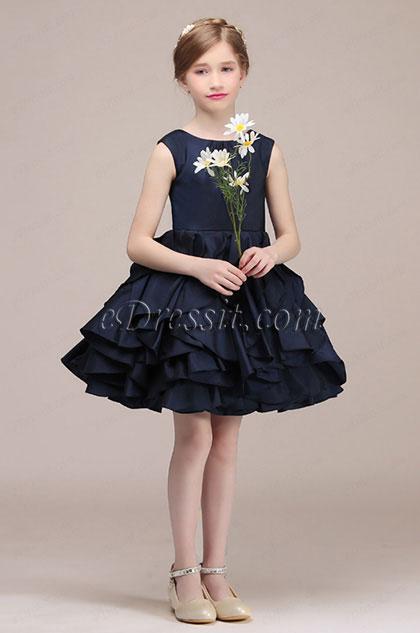 eDressit Navy Blue Layered Wedding Flower Girl Mini Dress(28191005)