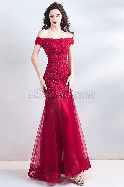 8d75bf52be9 eDressit Sexy Red Off Shoulder Lace Applique Prom Ball Gown (36201502)