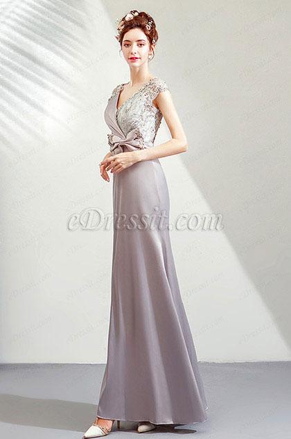 eDressit Grey V-Cut Lace Appliques Party Prom Dress (36206608)