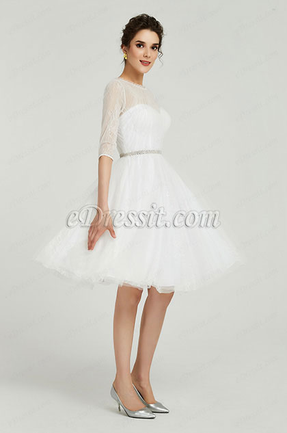 eDressit White High Neck Tulle Cocktail Party Dress (04190107)