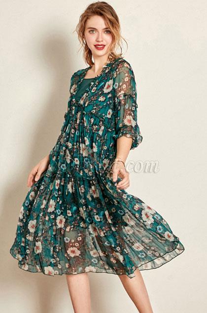 eDressit V-cut Silk Summer Dress Day Dress (30192968)