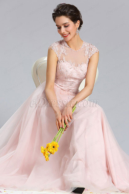 Illusion Neckline Beaded Tulle Prom Evening Dress