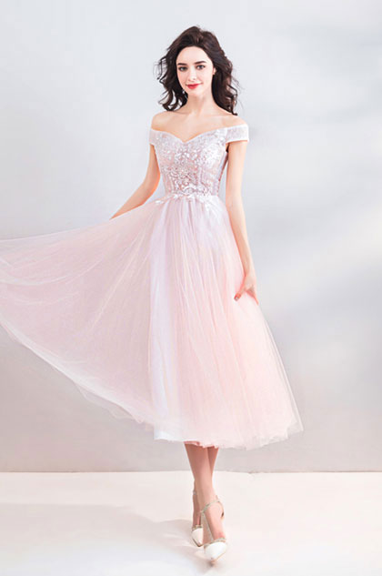 eDressit Sexy Off shoulder Pink Tulle Party Ball Dress (35196501)
