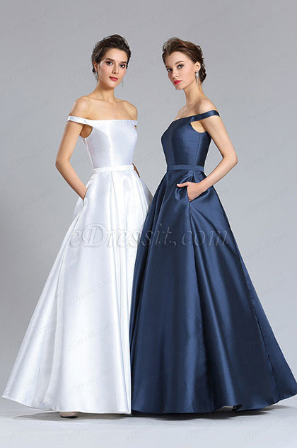 eDressit Off Shoulder Blue Puffy Formal Gown Dress (02182905)