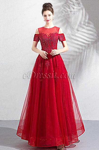 eDressit Red Unique Neck OFF Shoulder Tulle Party Dress (36203802)