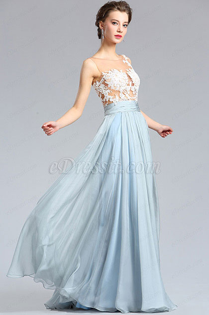 eDressit White & Blue Floral Lace Fashion Evening Dress (00182532)