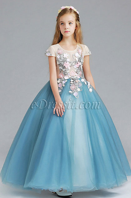 Princess Blue Children Wedding Flower Girl Dress