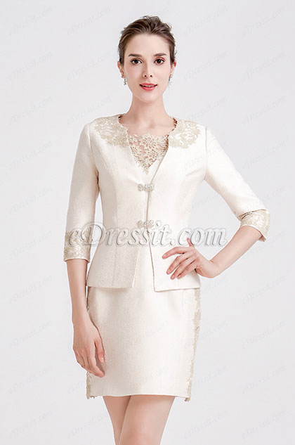 eDressit Beige Embroidery Two-piece Suit Mother of Bride Dress (26190914)