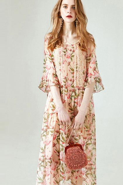 eDressit Fashion Silk Printed Long Holiday Dress Day Wear (30195168)