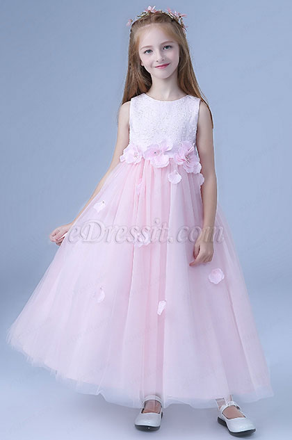 Lovely Bowknot Long Wedding Flower Girl Dress