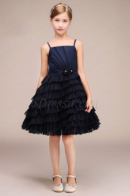 eDressit Navy Blue Short Spaghetti Flower Girl Dress (28193305)