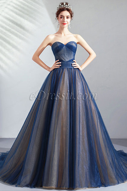 Blue Corset Sweetheart Pleated formal Party Ball Dress