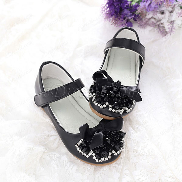 eDressit Black Girl's Round Toe Leather Flat Flower Dance Shoes (250018)