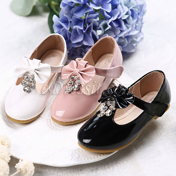 Girl's Round Toe Princess Leather Flat Flower Girl Shoes (250040)