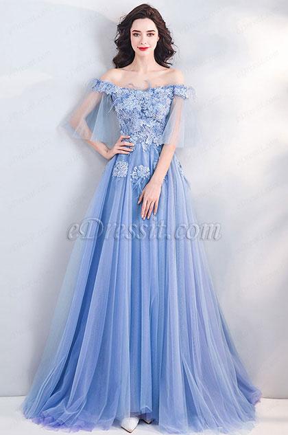 eDressit Blue OFF Shoulder Embroidery Prom Evening Dress (36212505)