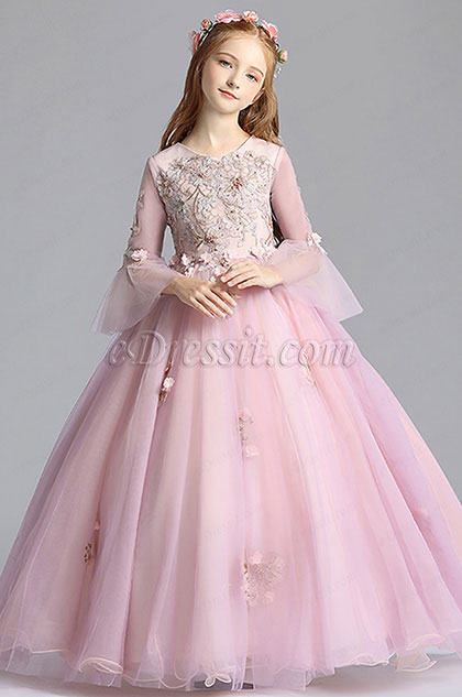Round Neckline Children Wedding Flower Girl Dress