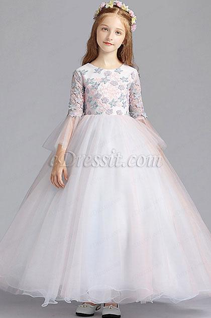 eDressit Tulle Floral Long Wedding Flower Girl Dress (27196001)