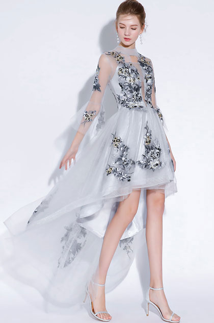 eDressit Sexy Grey High Neck Embroider Tulle Party Prom Dress (35197508)