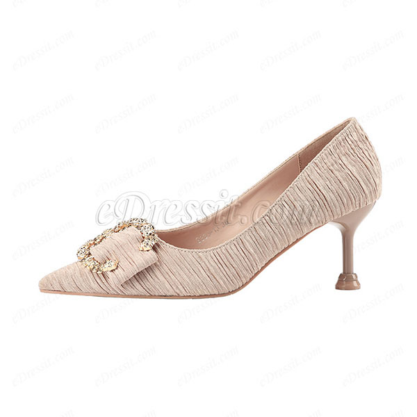Women's Elegant Rhinestone Closed Toe Mid Heel Pumps Shoes (0919028)