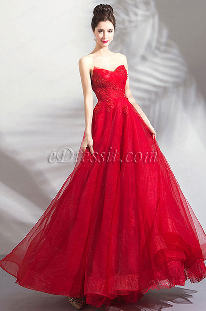 Red Sweetheart Pleated Formal Party Ball Dress