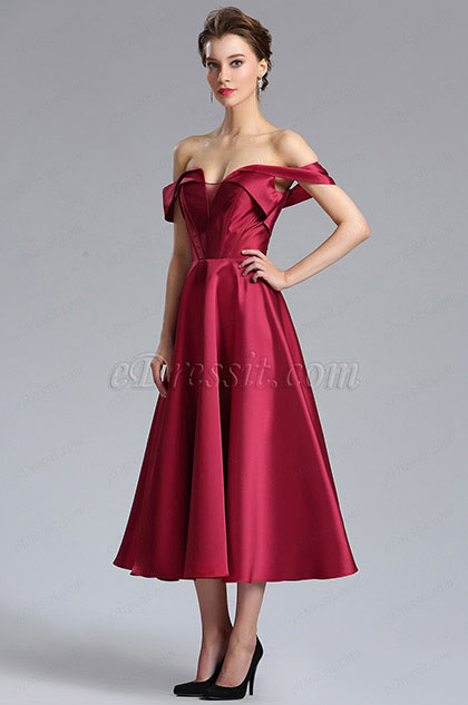 eDressit Burgundy Off the Shoulder V Cut Cocktail Prom Dress (04181617)
