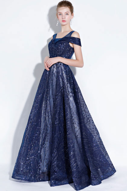eDressit Blue Off Shoulder V- Cut Sparkle Sequins Evening  (36216805)
