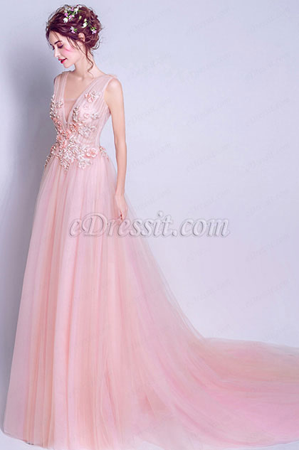 Pink Deep V -Cut Straps Elegant Party Ball Dress