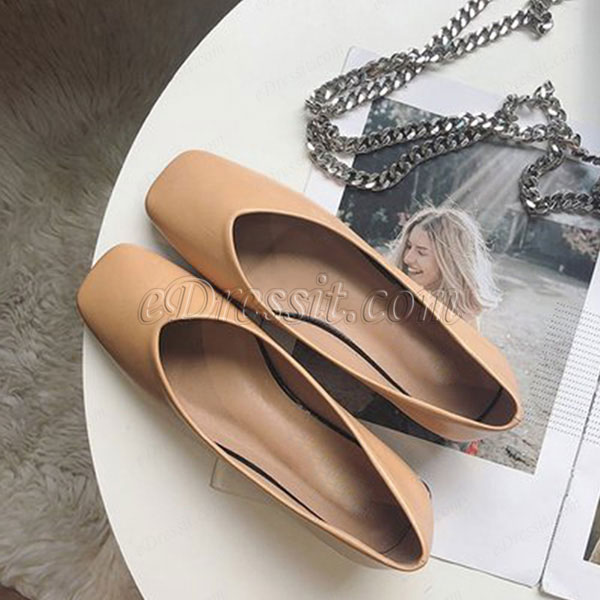 Women Fashion Leather Toe Closed Pointed Flat Shoes (0919081)