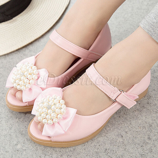 eDressit Girl's Bowknot Open Toe Leather Flat Flower Sandals Shoes (250033)