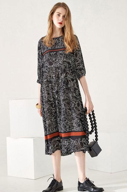 eDressit Silk Round Neck Printed Dress Day Dress (30194000)