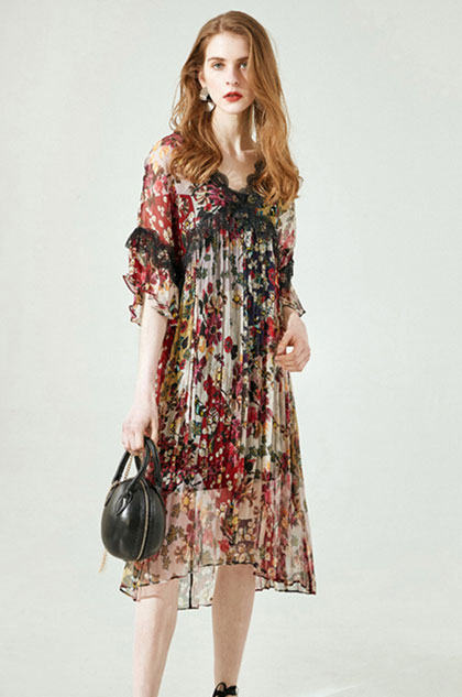 eDressit Silk Short Sleeves Printed Dress Summer Dress (30194468)