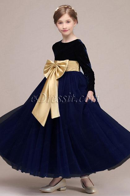 eDressit Bowknot Long Velvet Wedding Flower Girl Dress (27192805)