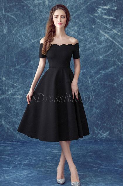 Elegant Off-Shoulder Black Women Party Dress