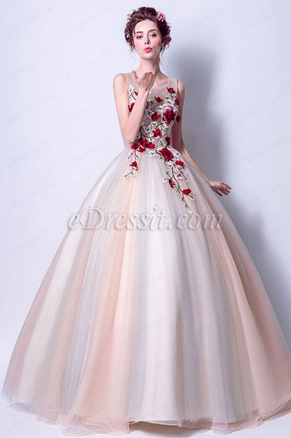 Sexy Strapless Embroidery Women Party formal Gown