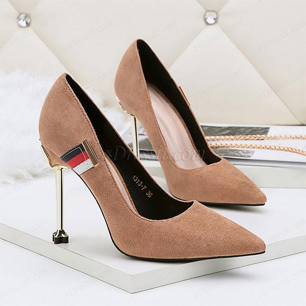 Women's Suede Sexy Kitten High Heel Pumps Shoes (0919015)