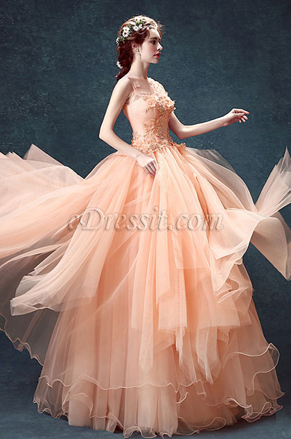 eDressit Sexy Orange Strapless Embroidery Ruffle Prom Dress (36208010)