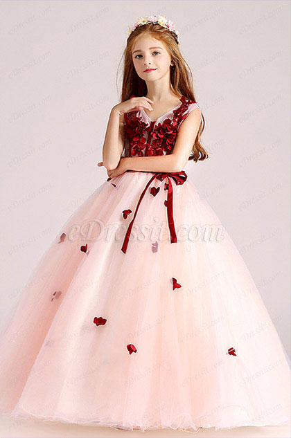 Edressit Red White Children Wedding Flower Girl Dress