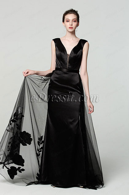 New Black V-Neck Overlay Prom Gown Evening Dress