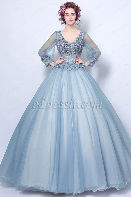 Blue-Grey V-Cut Floral Puffy Party Ball Evening Dress