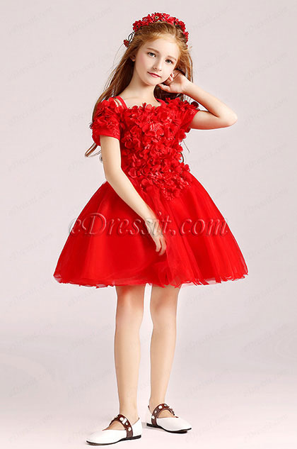 eDressit  Red Floral Princess Flower Girl Stage Dress (28190602)