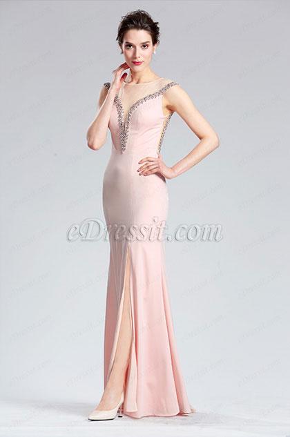 eDressit Robe de Soirée Rose Sans Manches à Fente Haute (36183801)