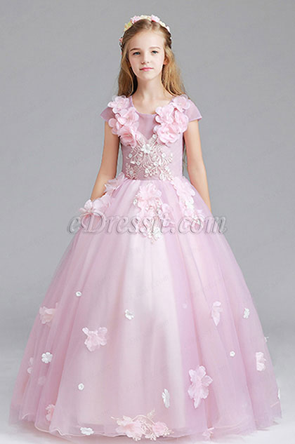 Pink Cap Manches Children Wedding Flower Girl Dress