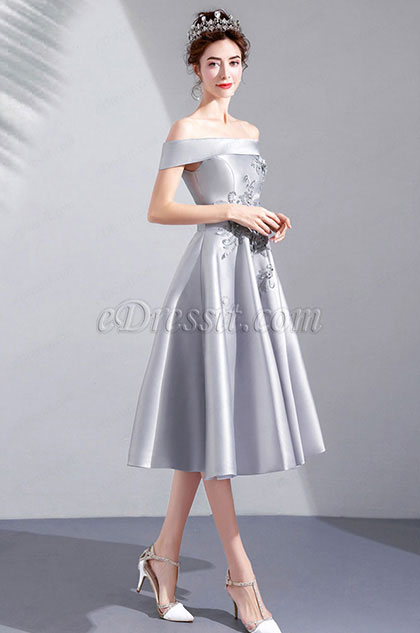 eDressit Grey OFF Shoulder Lace Women Party Ball Dress (35191708)