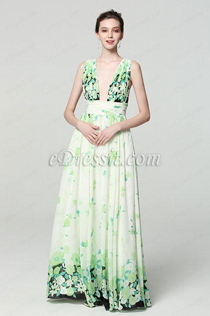 eDressit Formelle Robe de Soirée Florale Imprimé  V Col (00183168J)