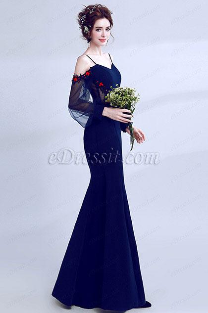 eDressit Navy Blue Spaghetti Elegant Sleeves Party Prom Dress (36205605)