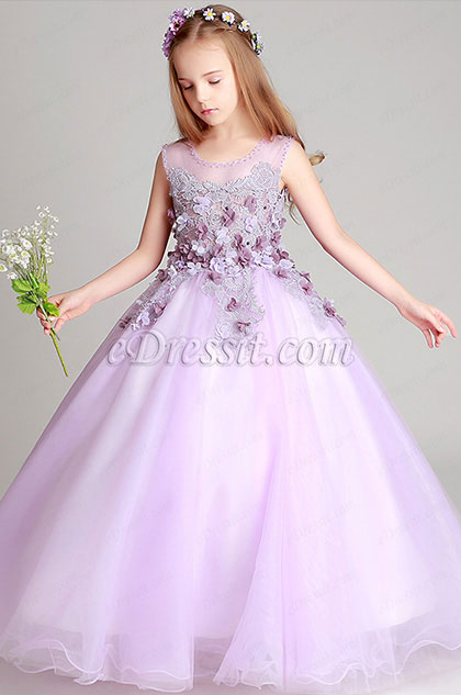 Sleeveless Wedding Flower Girl Party Dress