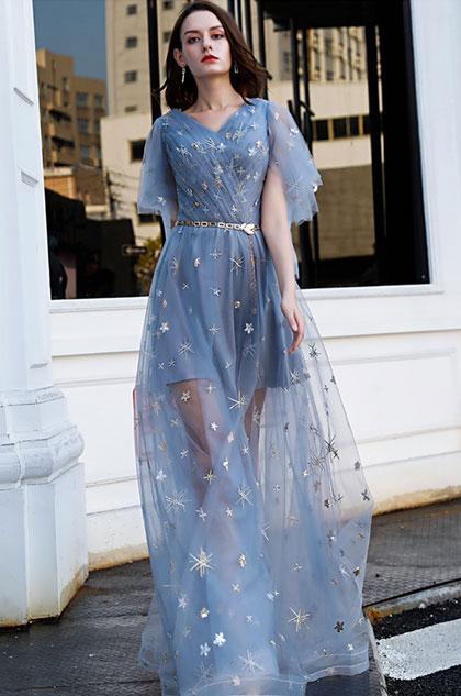 eDressit Blue V-Cut Sparkle Sequins Tulle Party Prom Dress (36220305)